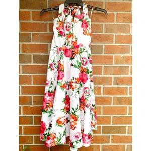 Grace Karin Pinup White red Floral Halter Dress